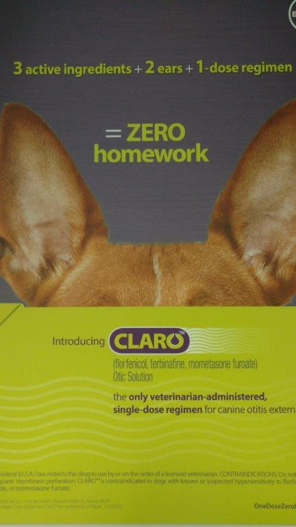A product poster for Claro hangs on a conference-room wall. Piedmont developed the anti-infective medicine for canine ear infections and sold it to Bayer.