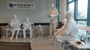 Piedmont's lobby features a plaster-cast tableau of a veterinary waiting room. The sculpture was commissioned by Ciba-Geigy Animal Health as a trade show exhibit to promote Interceptor, a heartworm preventative for cats and dogs. The exhibit was given to Piedmont in 2016 by Elanco, Ciba-Geigy's successor, to honor the role that Piedmont employees played in the development of Interceptor when they worked for Ciba-Geigy.